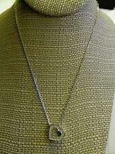 Swarovski Crystal Heart Pendant On Silver Tone Adjustable Necklace Signed Swan