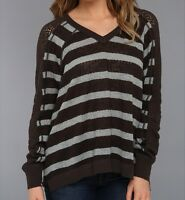 Free People We The Free Fluffy Lou Swit Top Sweater $88 Charcoal S
