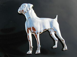 Boxer dog chrome emblem