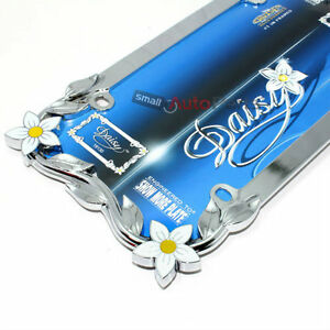Chrome Daisy Flowers Metal License Plate Tag Frame For
