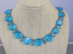 Antique-Art-Deco-Robin-Egg-Blue-Glass-Bezel-Set-w-Baguettes-Choker-Necklace