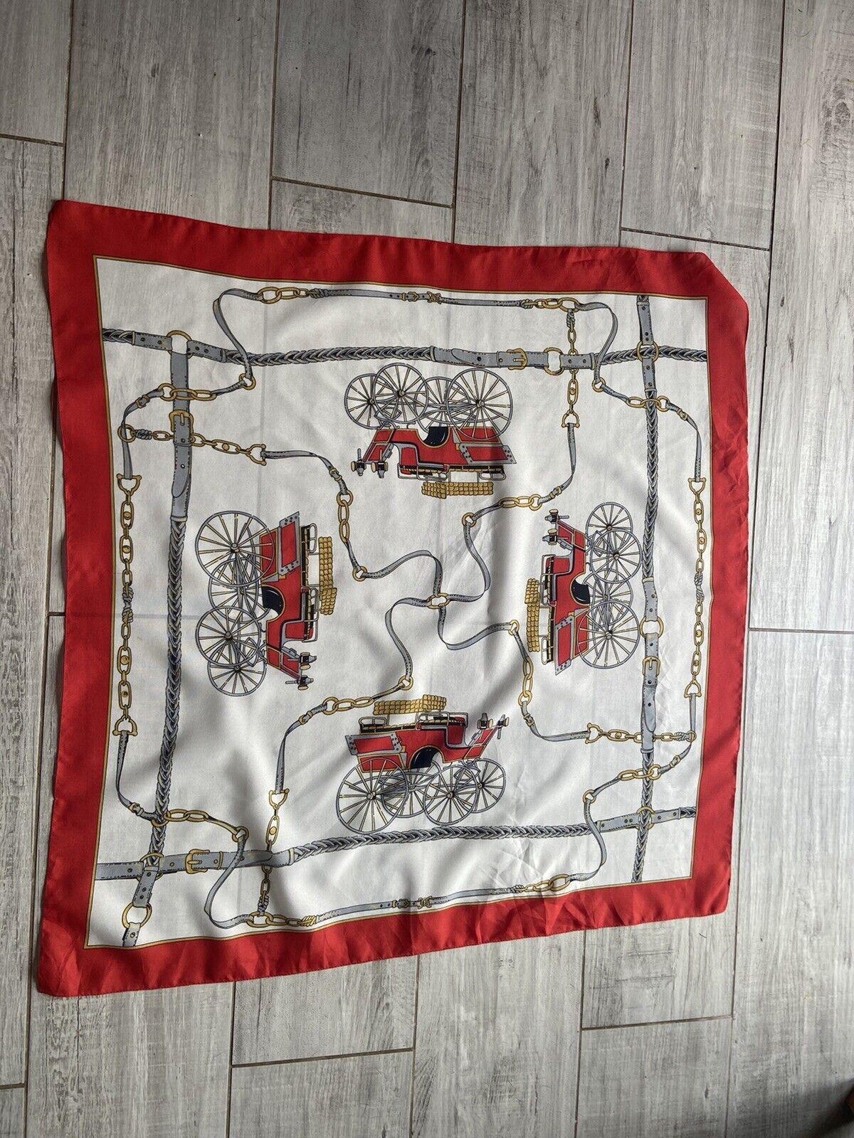 VINTAGE 70's RED & WHITE EQUESTRIAN PRINT RETRO SCARF
