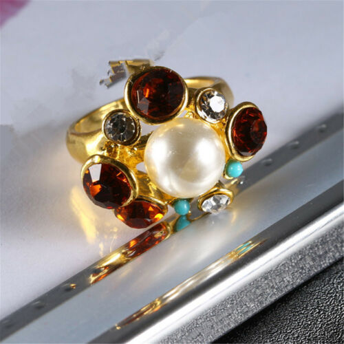 Women 18K Yellow Gold Filled Pearl Crystal Ring Rings Men Rings Lovers Gift JZ27