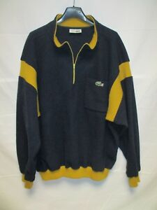 fb6ee3b997 Pull col zip LACOSTE Devanlay made in France bleu marine hiver laine ...