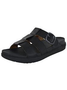Fitflop-Mens-FFisher-Leather-Slide-Sandal-Shoes-Black-US-10