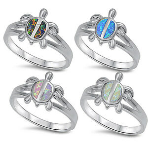 Oxford Diamond Co Sterling Silver Cute Lab Created Opal Turtle Pendant