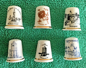 Set-Of-6-English-Towns-Bone-China-Thimbles-Collectable-England-Places-S2