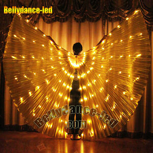USA! Led isis wings rechargeable belly dance 126 lights gold with sticks bag