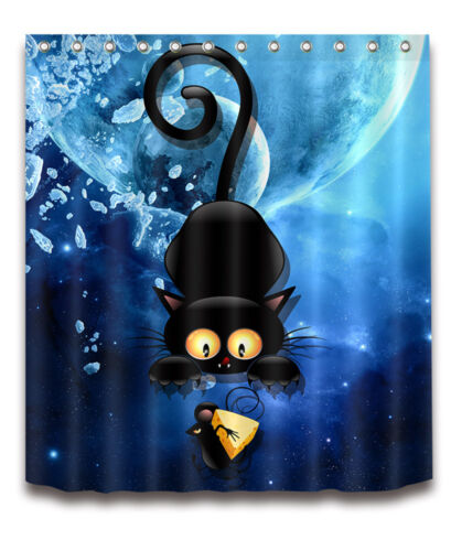 """72//79/""""Bath Fabric Shower Curtain /& Mat /&12Hook Cat Catch Mouse Ice Scenic 4063"""