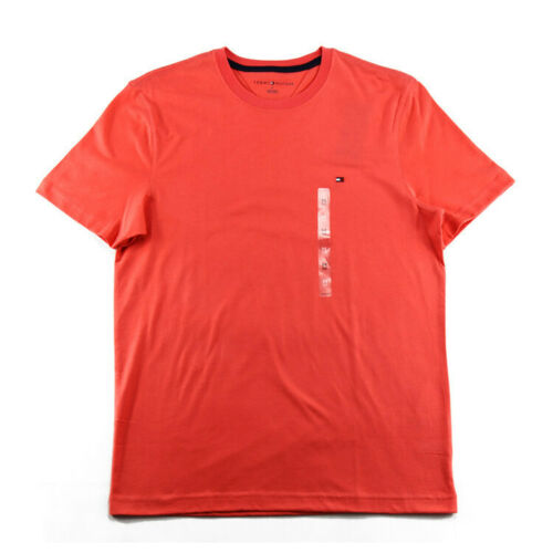 Tommy Hilfiger Mens Crew Neck T-Shirt Graphic Tee Vintage Flag Logo Salmon Red