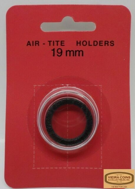 10 AIRTITE COIN HOLDER CAPSULE BLACK RING 24 MM QUARTER 25 CENTS