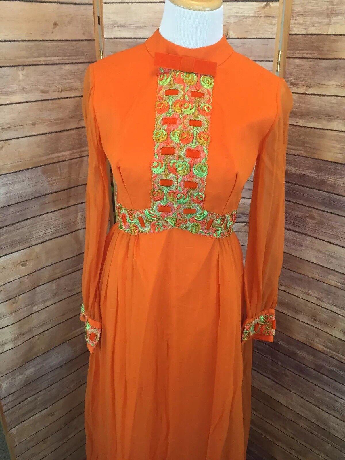 VTG 70's 1970s Psychedelic orange OOAK Embroidered Sheer Overlay Long Dress Sz 9
