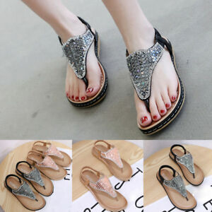 b097fb24a5f3 Casual Women s Open Toe Sandals Bohemian Belt Buckle Beach Shoes ...
