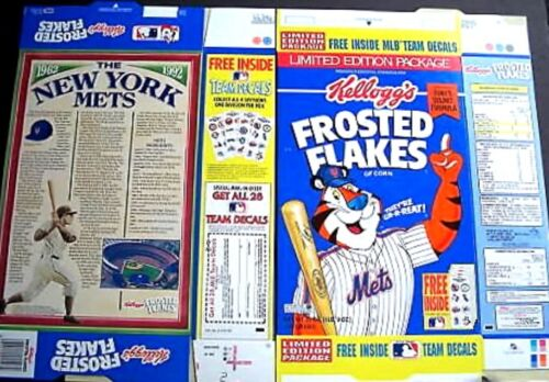 New York Mets Kellogg/'s Cereal box unused factory FLAT 1z44 n 2z14