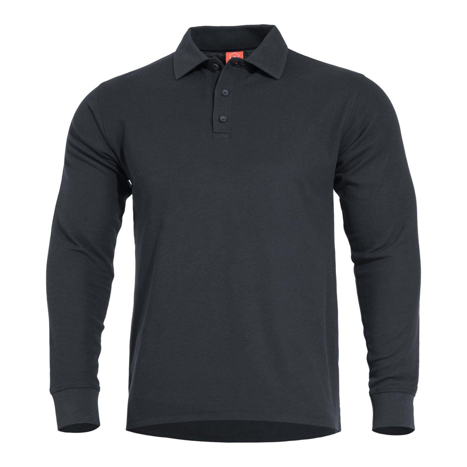 PENTAGON Maglia T-shirt Polo uomo militare Super Soft Pique ANIKETOS POLO nero