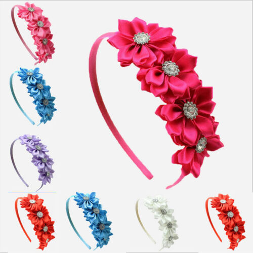 1 Pc Kids Girls Headband Satin Ribbon Flower Hair Wear Hair Accessories GF