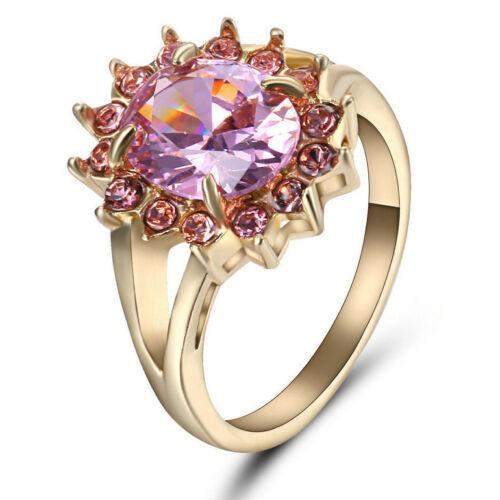 Women/'s Pink Sapphire Band Anneau Mariage 10KT or jaune rempli Bijoux Taille 9