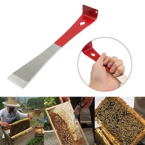 J Shape Beekeeping Tool Red Curved Tail Bee Hive Hook Stainless Steel Scraper