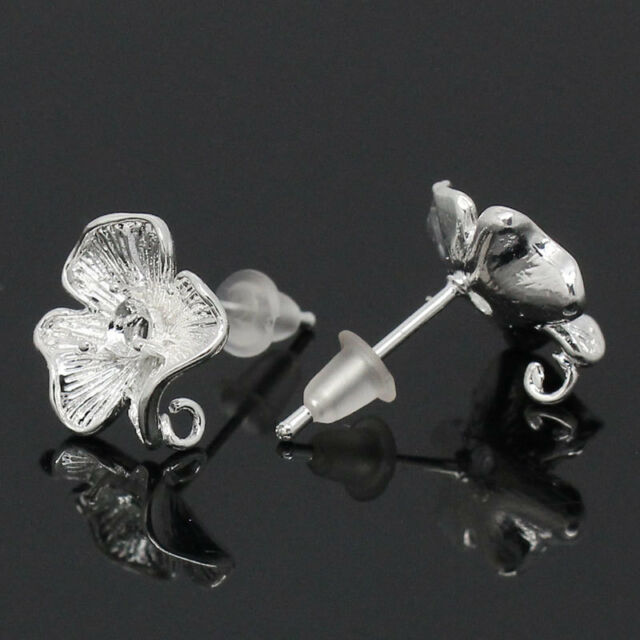 """50 PCs Copper Earring Post Flower Silver Plated 17mmx12mm(5/8""""x4/8"""") Wholesale"""