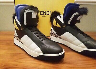 Black Kind-Hearted Nib Fendi Runway High-top Sneakers With Tags Fur 13m Us Orig $1500 $675