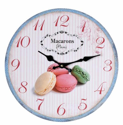 Wanduhr Macarons Paris Hängeuhr Vintage Uhr Shabby Chic Küchenuhr Dekouhr  Antik