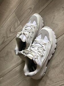 Zara Leather Platform Sneakers white