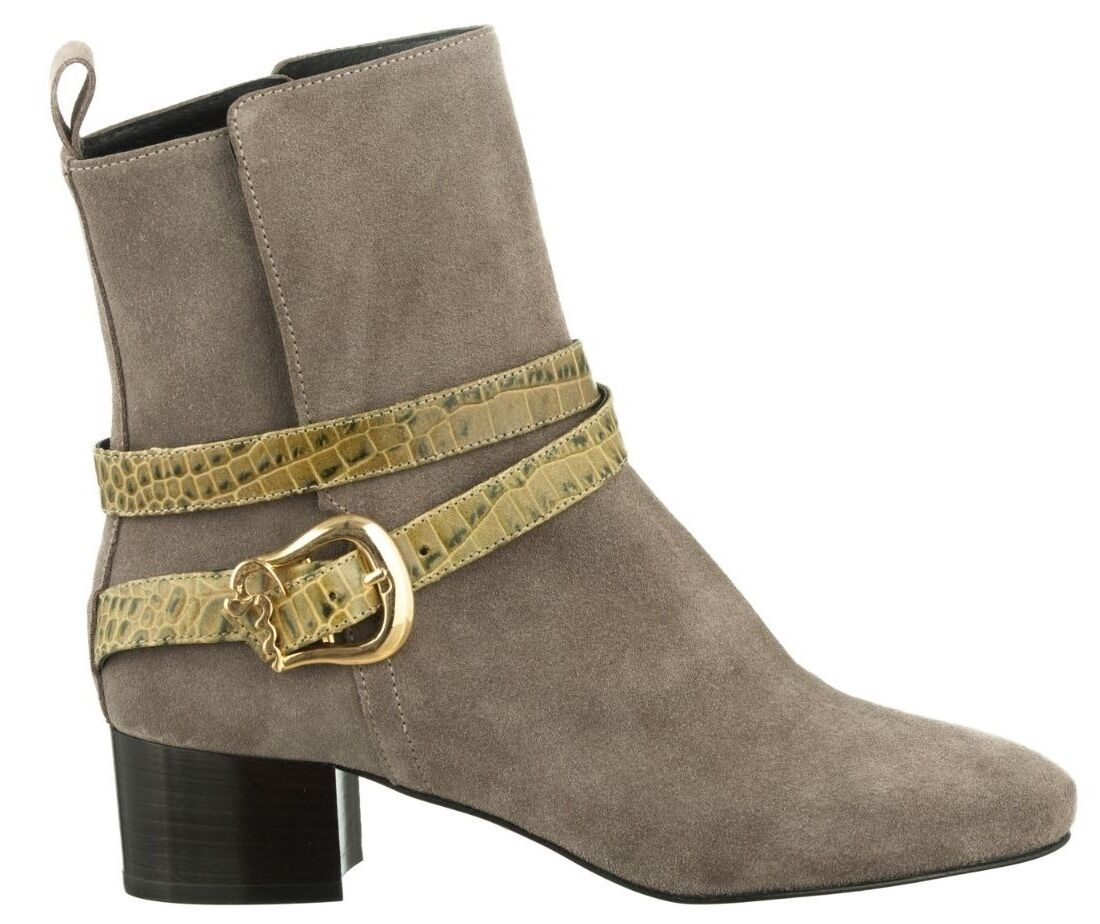 MORI ITALY ANKLE HEELS BOOTS STIEFEL STIVALI KROCO LEATHER BEIGE BEIGE BEIGE NUDE GREEN 43 caf7f8