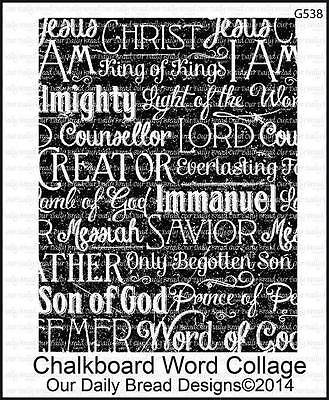 Our Daily Bread Designs Chalkboard Cling Stamp Word Collage Names of Jesus G538