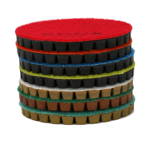 """4/"""" Diamond Polishing Pad Wet Grinding Disc for Stone 50~3000 Grit Thickness 8mm"""