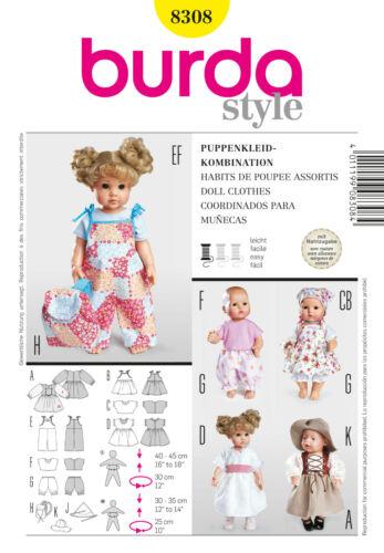 Kombination Schnittmuster burda Nr 8308 Puppenkleider