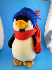 "Carousel by Guy Penguin Plush Red scarf blue winter hat 11"" Vintage 1983 Korea"