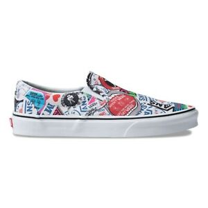 96aa0512bf New Vans Classic Slip-On Mash Up Stickers Print White Sneakers Shoes ...