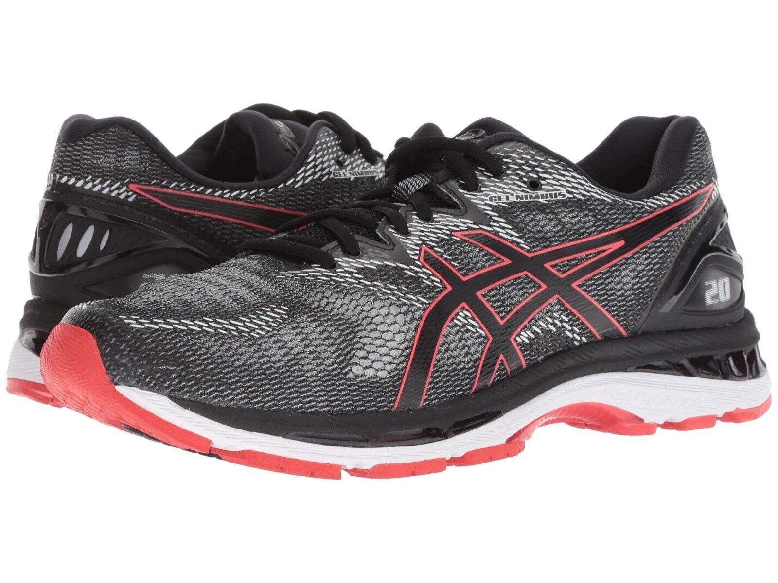 Asics - Men Gel Nimbus 20 Running Sneakers, Black Red Alert  Medium (M, D)