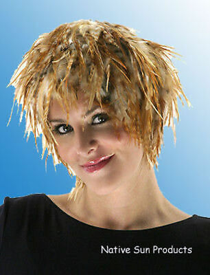 Wig Rooster Hackle Feathers Halloween Costume Punk Retro New HOT PINK