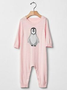 0a73fe11958 GAP Baby Girls Size 6-9 Months NWT Pink   Gray Penguin One-Piece ...