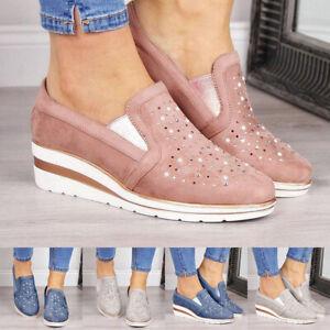 Women-039-s-Hidden-Wedge-Platform-Heel-Slip-On-Loafers-Outdoor-Casual-Shoes-Sneakers