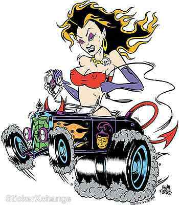 Horned Girl Sticker Decal Poster Art Alan Forbes AF11