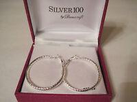 Danecraft Silver 100 Patterned Cut Hoop Pierced Earrings, Gift Box $80 Free S&h