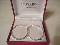 Danecraft Silver 100 Patterned Cut Hoop Pierced Earrings, Gift Box $80 Free S&h