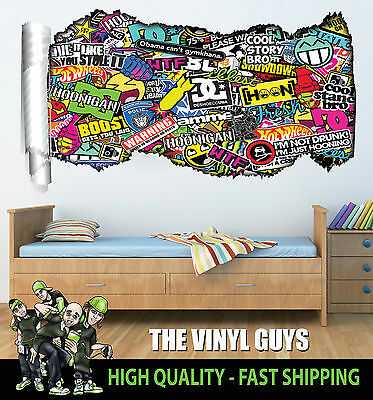 Fiducioso Stickerbomb 001 Logo Mix Muro Tear Childrens Bedroom Playroom Adesivo Decalcomania-