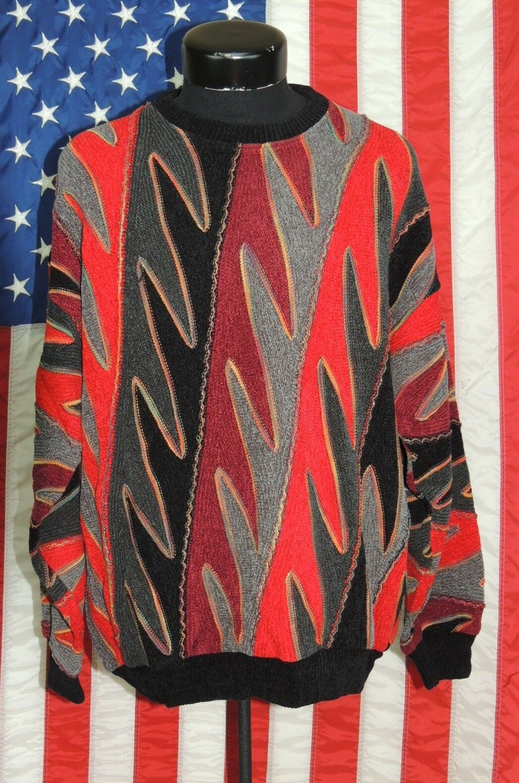 VTG Tundra Canada 3D Bill Cosby Biggie Smalls Med Abstract Sweater Hip-Hop Ugly