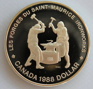1988-CANADA-SAINT-MAURICE-IRONWORKS-PROOF-SILVER-DOLLAR-HEAVY-CAMEO-COIN