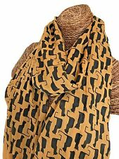 LADIES MUSTARD SCARF WITH BLACK CATS , CAT DESIGN SUPERB SOFT QUALITY