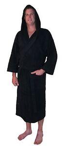 b75ed3681b Bathrobe Hooded Turkish Cotton Terry Calf Length 3 4 Sleeve Mens ...