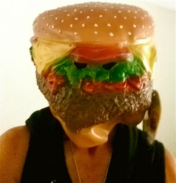 new adult giant cheeseburger head halloween costume party latex mask one size