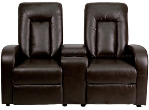 1 Row Of 2 Motorized Power Recliner Home Theater Chairs Black Brown Leather-Soft