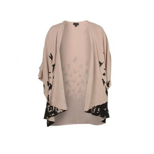 Topshop Nude schwarz Bird Print Border Kimono Jacket Cardigan Cape Vintage