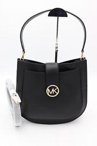 NWT-MICHAEL-Michael-Kors-Lillie-Black-Leather-Hobo-Messenger-Crossbody-Bag-378