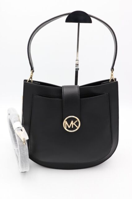 704b42e48b68 NWT MICHAEL Michael Kors Lillie Black Leather Hobo Messenger Crossbody Bag   378