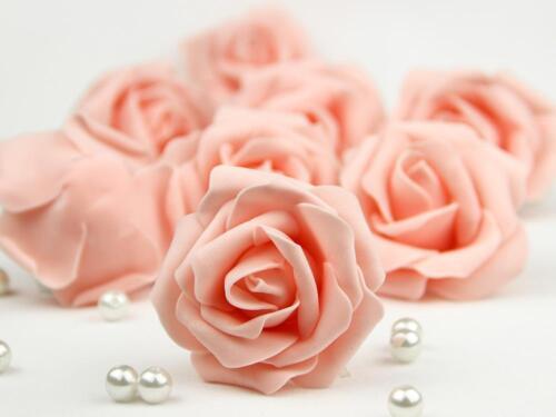 50X Foam Roses Artificial Flowers Heads Party Wedding Bride Bouquet Home Decor